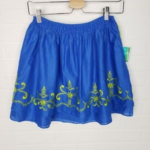 Calypso St Barth Blue Embroidered Skirt XS
